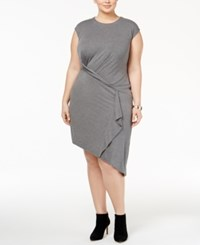 Whitespace Trendy Plus Size Asymmetrical Sheath Dress Grey