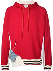 Greg Lauren Deconstructed Oversized Hoodie Red
