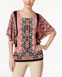 Jm Collection Printed Butterfly Sleeve Top Only At Macy's Caribbean Tiles