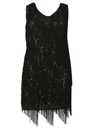 Samya Plus Sized Fringed Sequin Detail Top Black