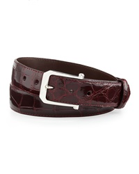 W.Kleinberg Glazed Alligator Belt With 'The Paisley' Buckle Burgundy Made To Order