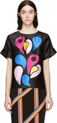 Peter Pilotto Black And Blue Silk Twill Os Blouse