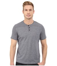 Kenneth Cole Sportswear Short Sleeve Stripe Henley Midnight River Men's T Shirt Black
