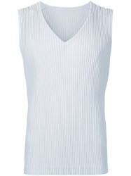 Homme Plisse Issey Miyake Pleated Sleeveless Tank Top Men Polyester 3 Grey