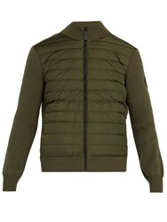Canada Goose Hybridge Wool Knit And Quilted Down Jacket Khaki