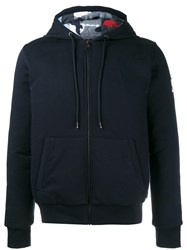 Moncler Gamme Bleu Reversible Padded Hoodie Cotton Polyamide Feather Down Wool Blue