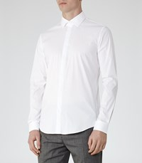 Reiss Mauro Mens Concealed Placket Shirt In White