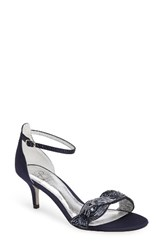 Adrianna Papell Women's Aerin Embellished Sandal Navy Fabric