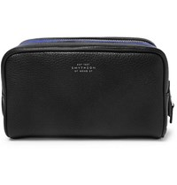 Smythson Burlington Two Tone Full Grain Leather Wash Bag Black