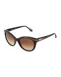 Roberto Cavalli Snake Print Rounded Cat Eye Sunglasses Dark Brown