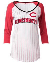 5Th And Ocean Women's Cincinnati Reds Pinstripe Glitter Raglan T Shirt White