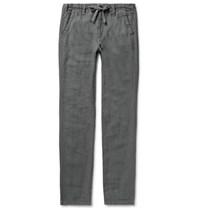 Hartford Charcoal Troy Slim Fit Linen Drawstring Trousers Charcoal