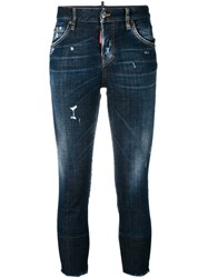 Dsquared2 Denim 'Cool Girl' Cropped Jeans Women Cotton Leather Polyester Brass 36 Brown