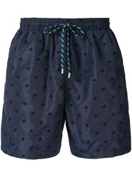 Stella Mccartney Micro Embroidered Swim Shorts Blue