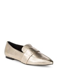424 Fifth Hayden Leather Loafers Gold