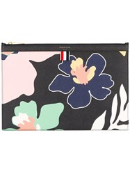 Thom Browne Floral Clutch Bag Women Calf Leather One Size Black