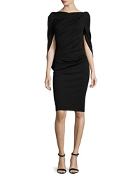 Talbot Runhof Konica Cowl Back Ruched Cocktail Dress Black