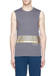 The Upside 'Code Muscle' Stripe Print Performance Tank Top Grey