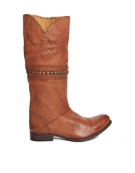 H By Hudson Leather Heartworn Knee High Boots With Stud Detail Cognac