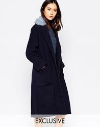 Helene Berman Navy Oversized Edge To Edge Coat With Pale Blue Faux Fur Collar Navy