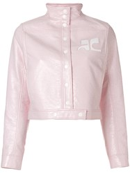 Courreges Logo Fitted Jacket Pink And Purple
