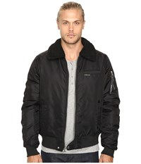 Members Only Military Bomber Jacket With Sherpa Collar Black Men's Coat