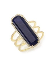 Meira T Sodalite Diamond And 14K Yellow Gold Baguette Triple Row Ring Gold Blue
