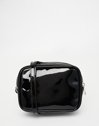 Monki Patent Cross Body Bag Black