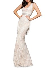 Mac Duggal Sequin Embellished Gown Ivory Nude