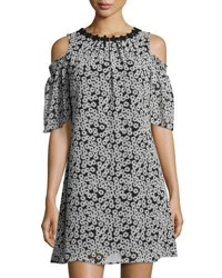 Taylor Floral Print Cold Shoulder Chiffon Dress Black White