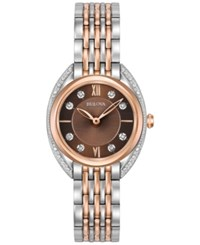 Bulova Women's Diamond Accent Two Tone Stainless Steel Bracelet Watch 30Mm 98R230 Two Tone