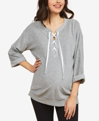 Motherhood Maternity Lace Up Sweatshirt Grey