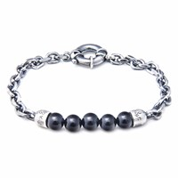 Anchor And Crew Black Onyx Stern Stone Silver Bracelet