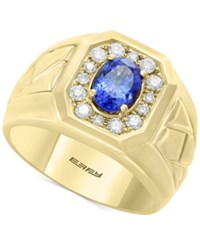Effy Men's Tanzanite 1 1 8 Ct. T.W. And Diamond 3 8 Ct. T.W. Ring In 14K Gold Blue