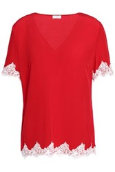 Claudie Pierlot Buzz Lace Trimmed Crepe Top Red