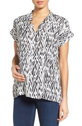 Women's Loyal Hana 'Carrie' Print Maternity Nursing Tee Black White Chevron