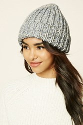Forever 21 Marled Knit Fold Over Beanie Blue Cream