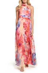 Eliza J Women's Chiffon Maxi Dress Pink Poppy