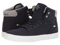 Supra Vaider Navy White Canvas Skate Shoes Multi