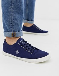 Original Penguin Lace Up Plimsolls In Navy