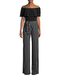 Bebe Off The Shoulder Striped Pant Jumpsuit Black
