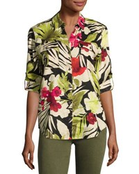 Tommy Bahama Victoria Blooms Floral Print Linen Shirt Multi Pattern