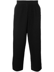 Homme Plisse Issey Miyake Ribbed Cropped Trousers Men Polyester S Black