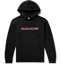 Noon Goons Logo Embroidered Fleece Back Cotton Jersey Hoodie Black