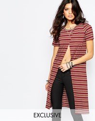 Noisy May Open Front Stripe Tunic Multi