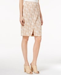 Kensie Printed Faux Wrap Skirt Honey Wehat