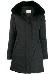 Peuterey Fox Fur Trim Coat Black