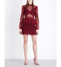 Self Portrait Dot Mesh Tiered Lace Dress Burgundy