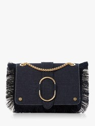 Dune Deloupe Fringe Foldover Shoulder Bag Blue