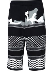 Neil Barrett Patterned Camouflage Shorts Black